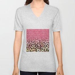 Cute girly trendy bubble gum pink faux glitter leopard animal print pattern Unisex V-Neck