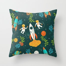 Race to the Moon with Flower Power Throw Pillow