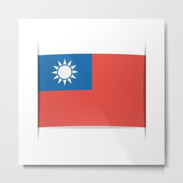 Flag of Taiwan.  The slit in the paper with shadows. Metal Print