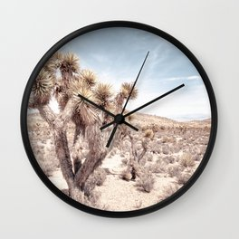 Cactus Closeup // Dusty Blue Sky Desert Landscape Yellow Tan Southwest Vibes Wall Clock