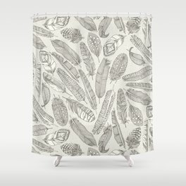 scattered feathers natural Shower Curtain