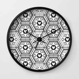 Hearts with floral and hexagonal geometric pattern Wall Clock