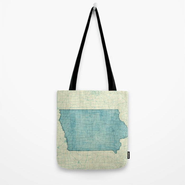 Iowa State Map Blue Vintage Tote Bag
