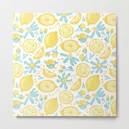 Lemon pattern White Metal Print