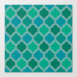 Teal Moroccan Lattice Pattern Canvas Print