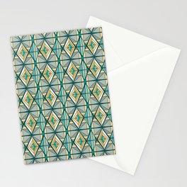 Hand Drawn Geometric Diamond Pattern Design - Green and Yellow Stationery Cards