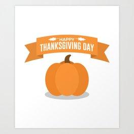 Happy Thanksgiving Day Pumpkin Design Art Print