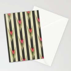 Spring flowers. Tulips are red. Retro. Stationery Cards