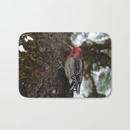 Red-Breasted Sapsucker in Christmas Snow Bath Mat