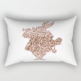 Sparkling rose gold Mr Rabbit Rectangular Pillow
