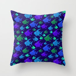 Cartoon Fish In Blues And Greens. Throw Pillow