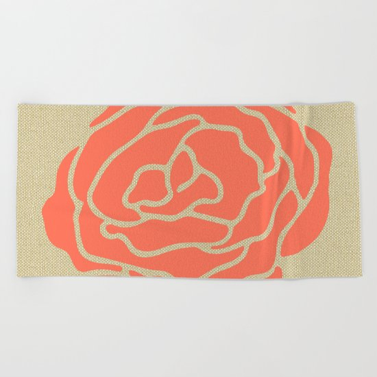Rose Deep Coral on Linen Beach Towel