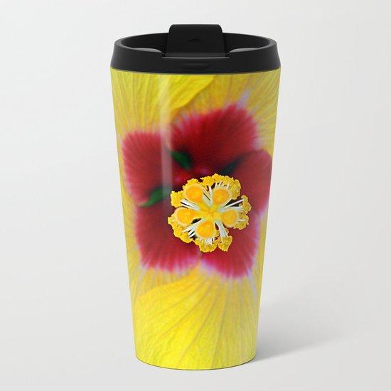 Yellow flower ## Metal Travel Mug