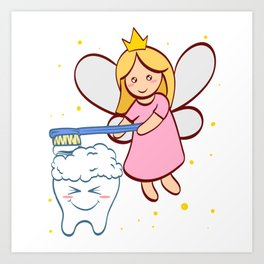 Tooth Fairy Brushing A Cute White Teeth Great Gift For Dentists Doctors, Dental Technician T-shirt Art Print