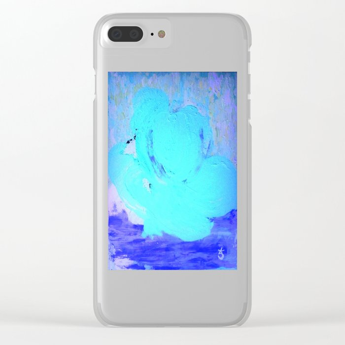 Neon Winter Rose, Abstract In Nature, Ice Blue Clear iPhone Case