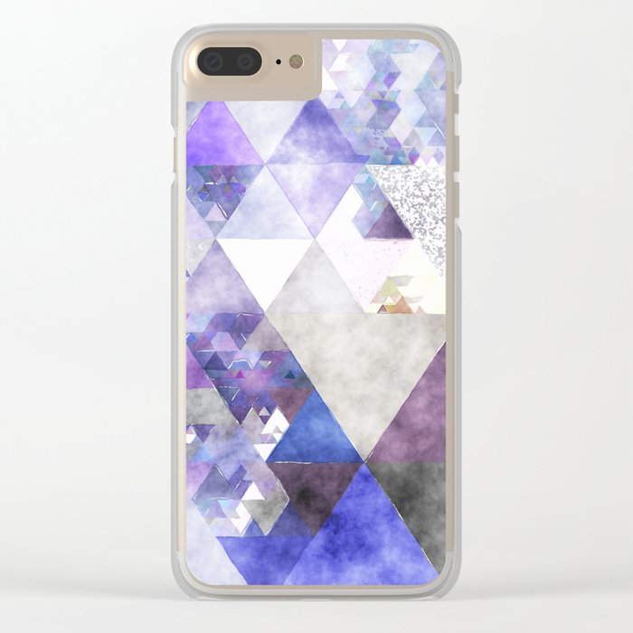 Purple and silver glitter triangle pattern - Abstract Watercolor illustration Clear iPhone Case