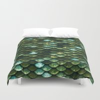 bisexual Duvet Covers featuring Aqua and green sparkling scales by Better HOME