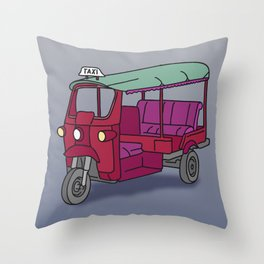 Red tuktuk / autorickshaw Throw Pillow