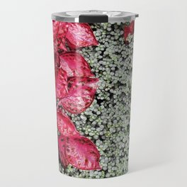 Pink Leaves on Green Carpet Travel Mug
