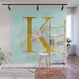 Gold Foil Alphabet Letter K Initials Monogram Frame with a Gold Geometric Wreath Wall Mural