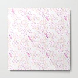 Pastel pink lavender watercolor geometrical shapes pattern Metal Print