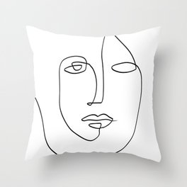 Abstract face One Line Art Throw Pillow