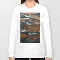 "geology Long Sleeve T-shirts featuring ""stratify"" abstract watercolor and gouache painting by Carol Farnum Art"