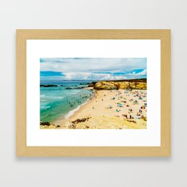 People Having Fun On Beach, Algarve Lagos Portugal, Tourists In Summer Vacation, Wall Art Decor Framed Art Print