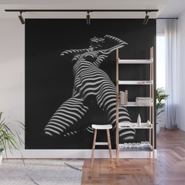 7068s-KMA Black White Nude Abstract Woman on Her Knees Zebra Styriped Wall Mural