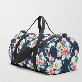 tulips on dark background Duffle Bag