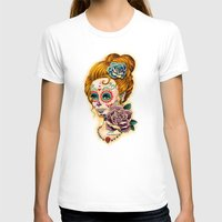 fitzgerald T-shirts featuring Dia de los Muertos Roses by Cathy FitzGerald