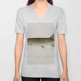 Pickerel (Lucius Reticulatus Le Sueur from a pond in Massachusetts) illustrated by Sherman F Denton Unisex V-Neck