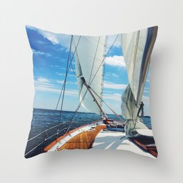 Sweet Sailing - Sailboat on the Chesapeake Bay in Annapolis, Maryland Throw Pillow