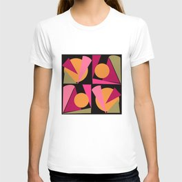 Triangles retro geometric design in pink ochre and sage on black background T-shirt