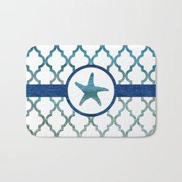 Starfish: Tropical Water Moroccan Pattern Bath Mat
