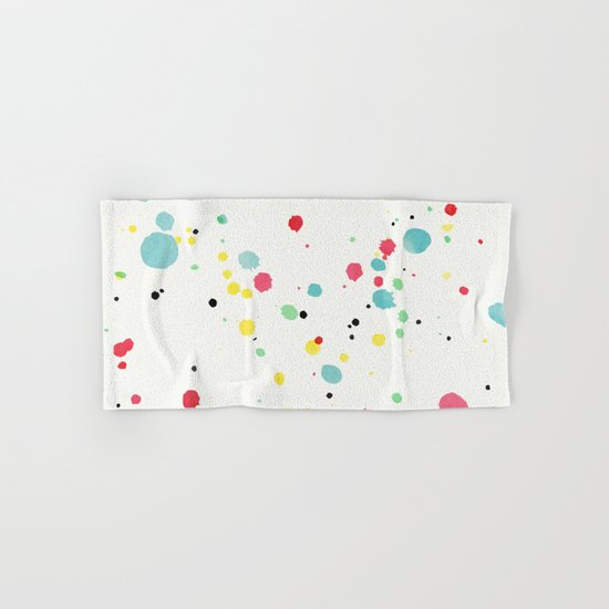 Watercolor splatters on white leather Hand & Bath Towel