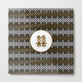 Double Happiness Symbol on Endless Knot pattern Metal Print
