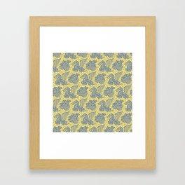 Pegasus Pattern Grey and Yellow Framed Art Print