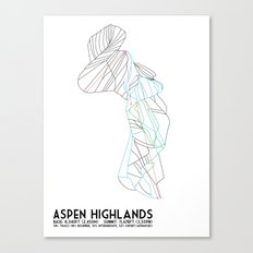 Aspen Highlands, CO - Minimalist Trail Map Canvas Print