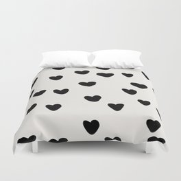 Big Hearts Brush Strokes Pattern Duvet Cover