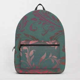 Ombre Damask Teal and Pink Backpack