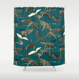 just whales blue Shower Curtain