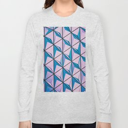 Pink Blue Geometric Triangle Pattern Long Sleeve T-shirt