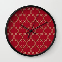 Gold Moroccan Lattice on Red Wall Clock