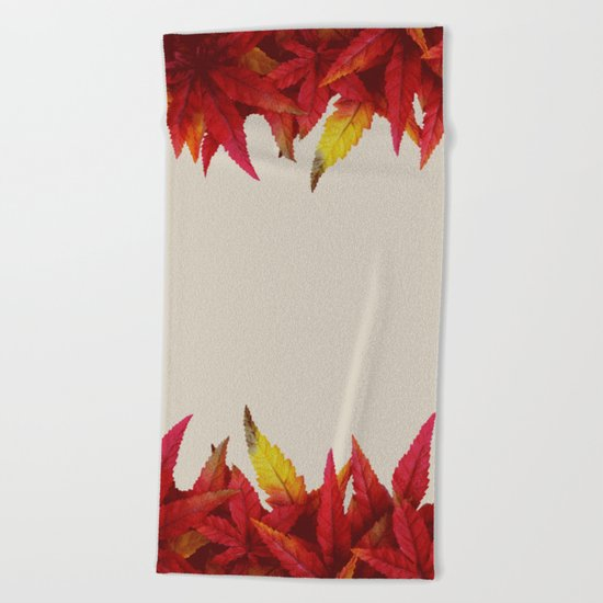 Autumn leaves (light grayish orange background) Beach Towel