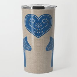 Christmas Blue Dala Horses on Burlap Travel Mug