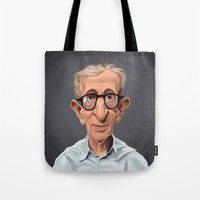 celebrity Tote Bags featuring Celebrity Sunday ~ Woody Allen by rob art   illustration