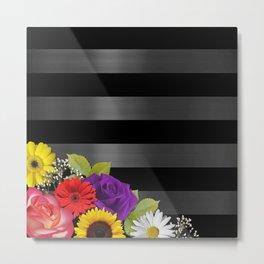 Black & Silver Dark Metallic Stripes With Flowers Metal Print