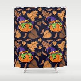 Autumn Leaves Cute Pumpkin Witch Shower Curtain
