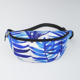 Jungle Leaves & Ferns in Blue Fanny Pack